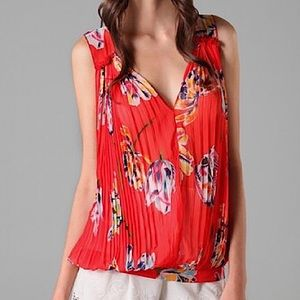 Free People Hibiscus Floral Blouse